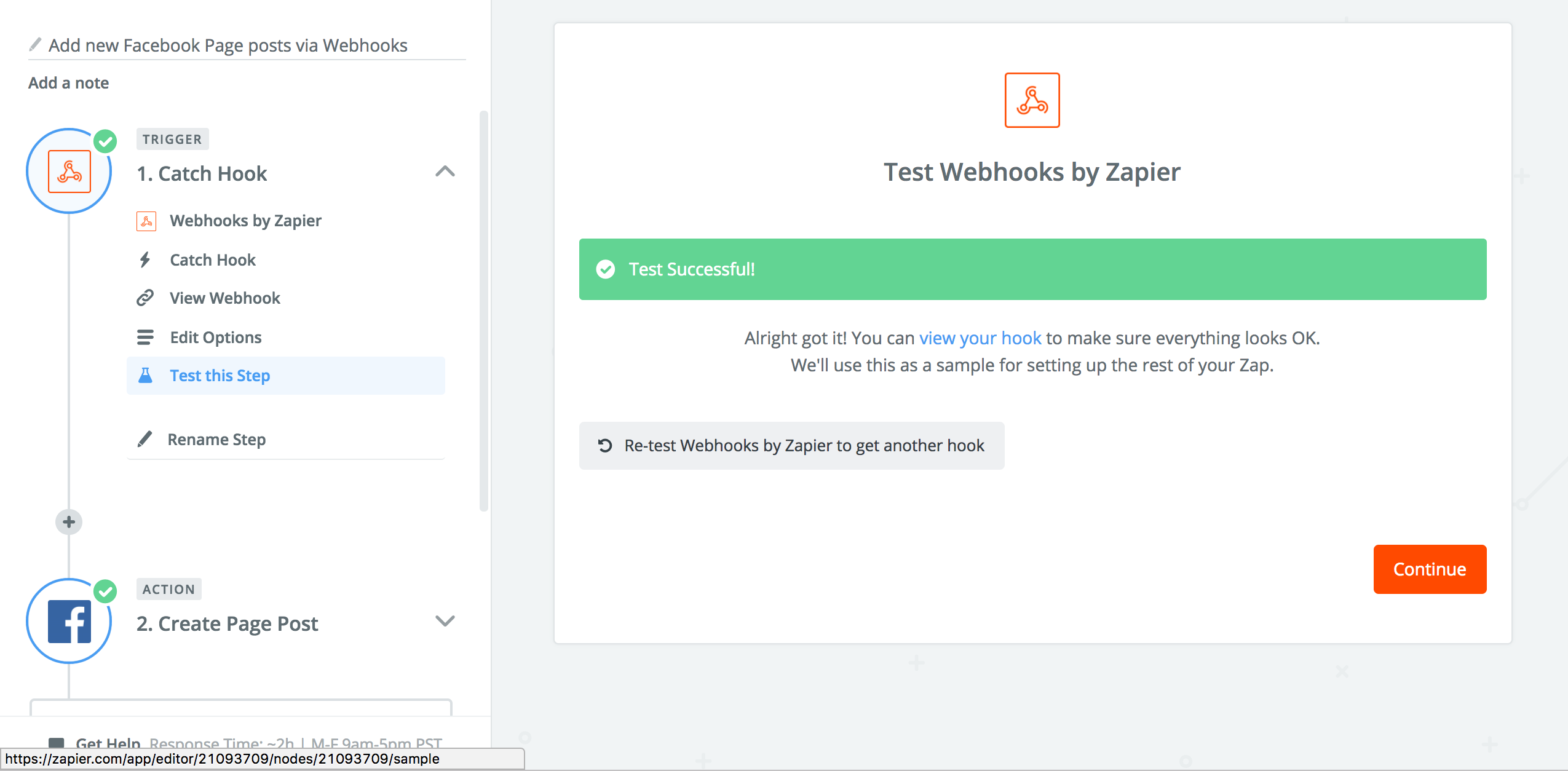 An example of a successful test received for a Webhook in Zapier.