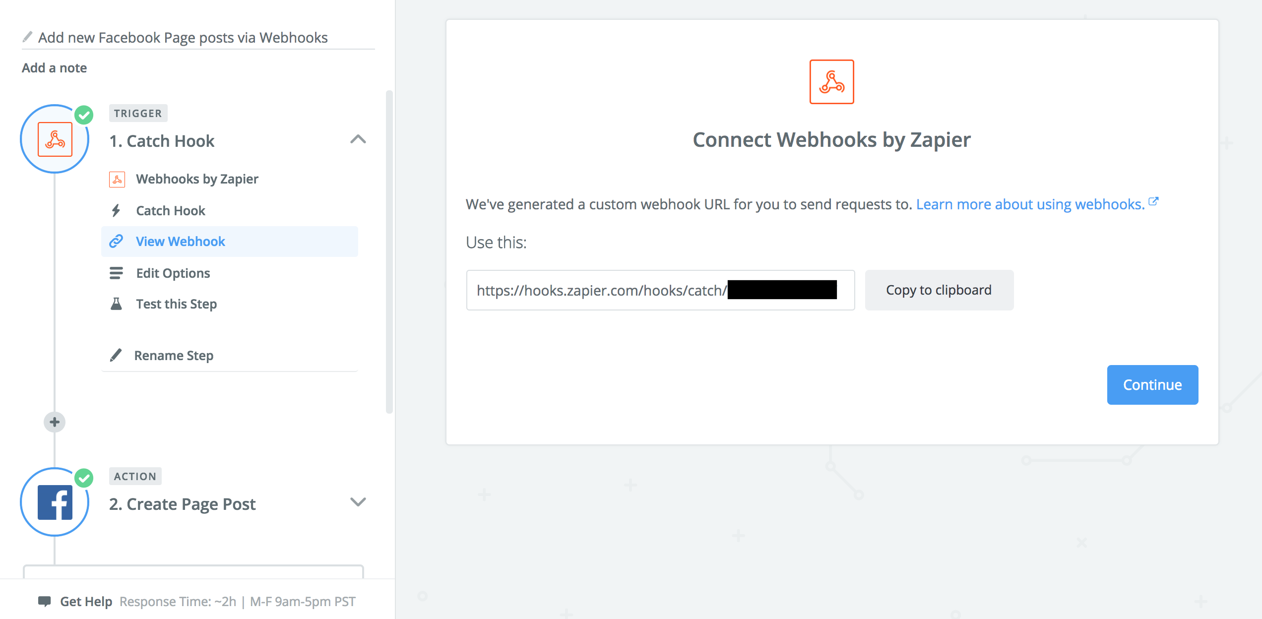 A screenshot of a webhook zapier created.