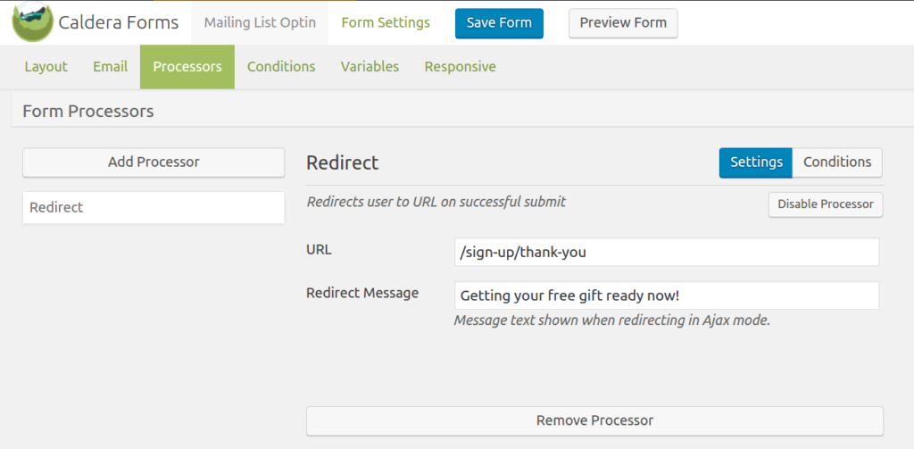 Caldera Forms redirect processor being used to send visitors to a thank you page