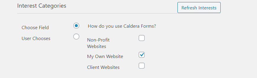 Choosing interest groups in Mailchimp add-on.
