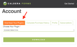 install wordpress plugins screenshot 1: get your plugin files on your caldera forms account