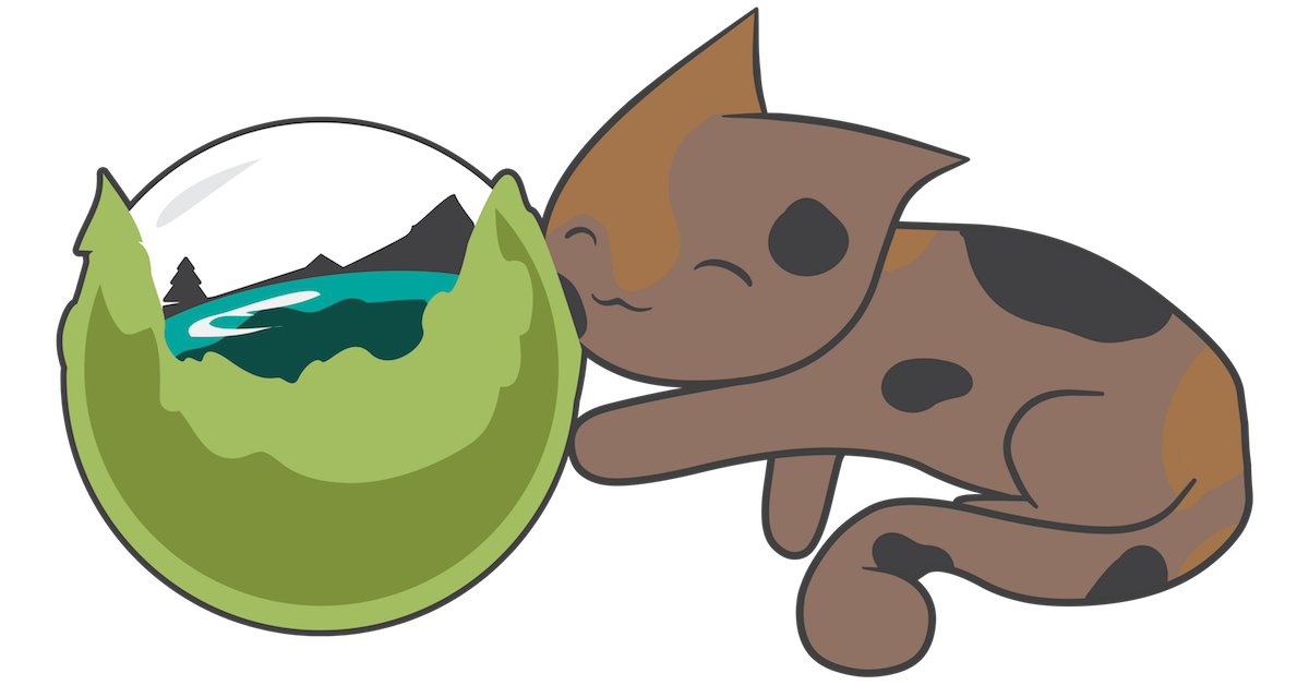 The Catdera mascot for Caldera Labs playing with the Caldera globe logo