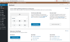 The Try Gutenberg callout box in the WordPress dashboard. Title is 'A new, modern publishing experience is coming soon'