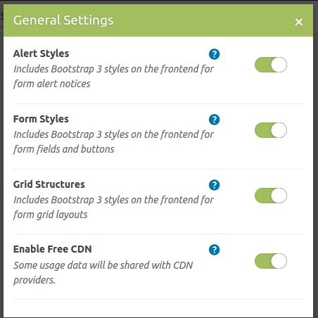 Caldera Forms General Settings Modal Wordpress Form Builder