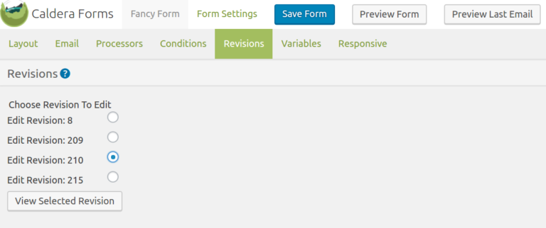 Choosing a Caldera Forms Form Revision To View