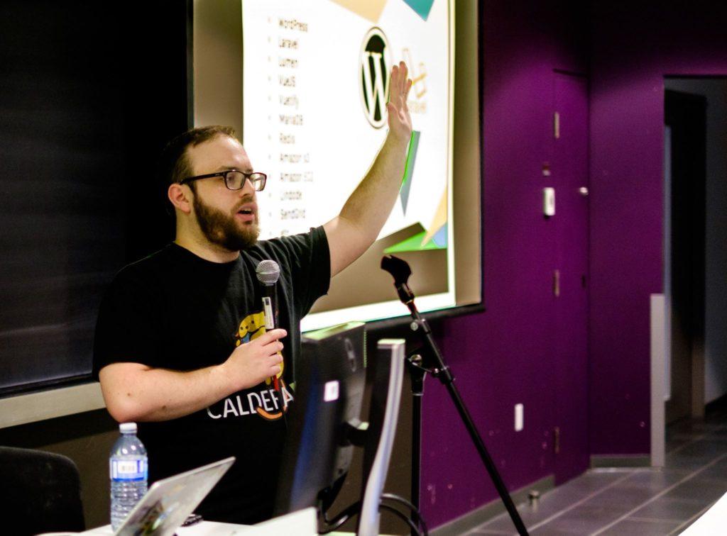 Josh Pollock presenting at WordCamp Montreal