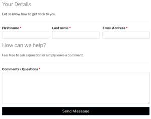 Screenshot of basic Caldera Forms contact form