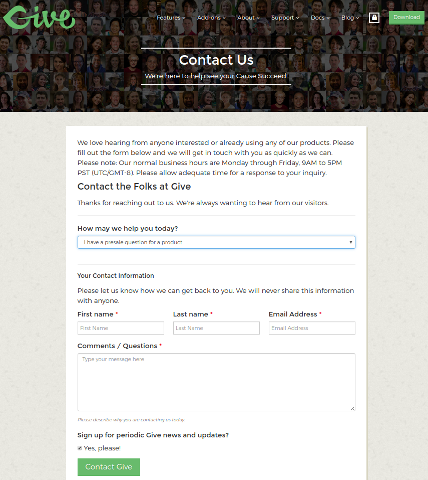 Screenshot of Give contact form created with Caldera Forms