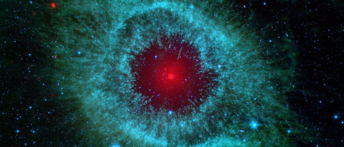 Interstellar gases that resemble a red eye in space