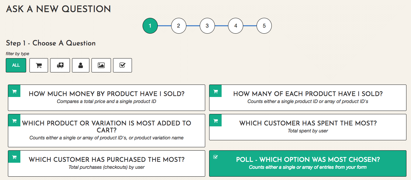 Screenshot of EZData's questions interface.