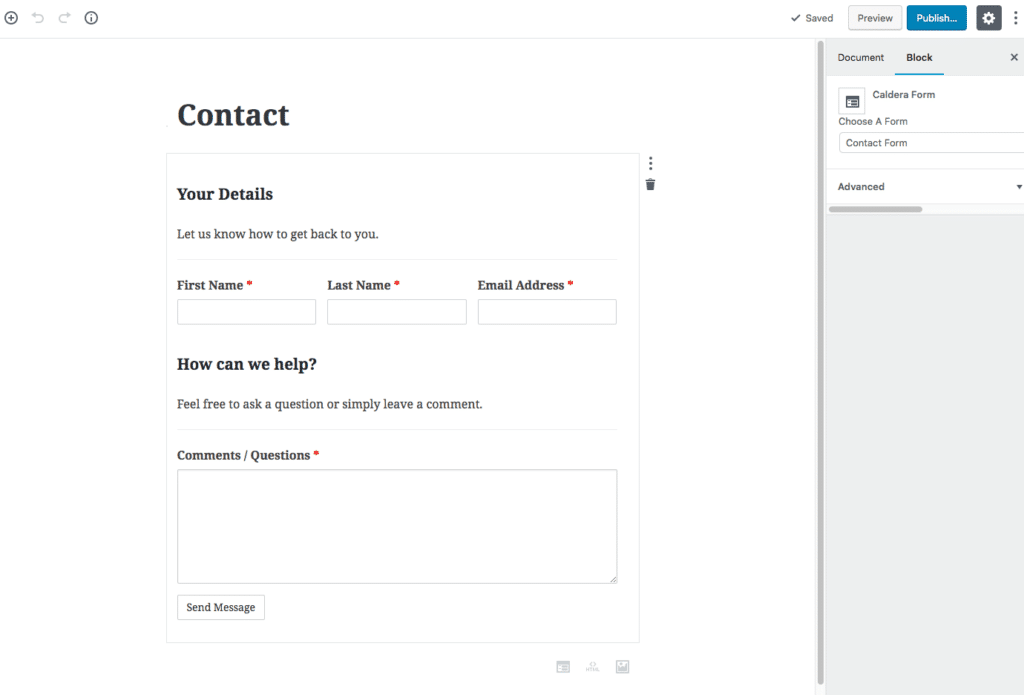 A WordPress Contact Us Page Built With Caldera Forms and Gutenberg