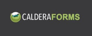 The words Caldera Forms and the caldera globe logo on a dark background