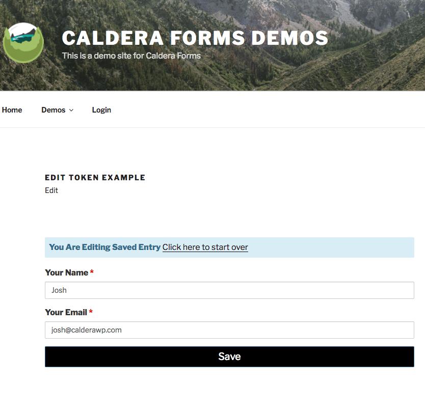 Caldera Forms Editable Entry Example Editing