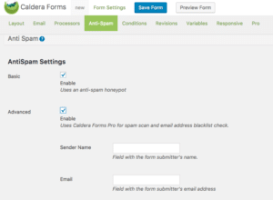 Caldera Forms settings for advanced anti-spam