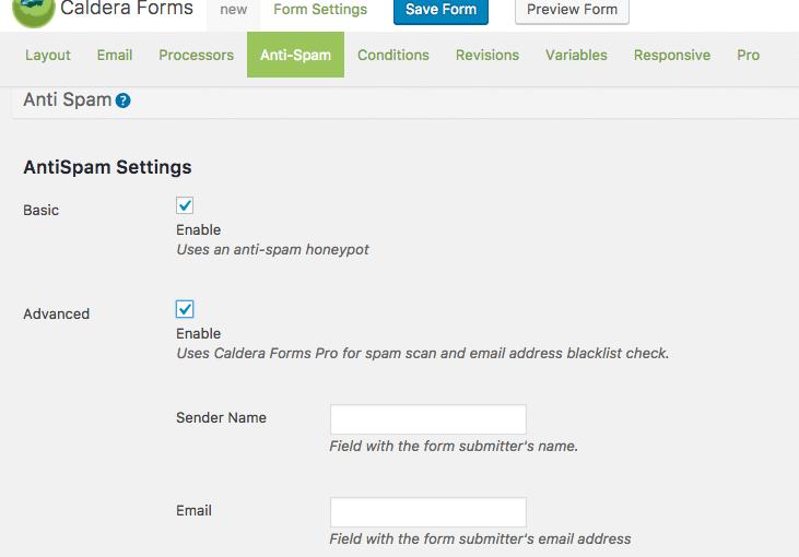 Caldera Forms settings for advanced anti-spam