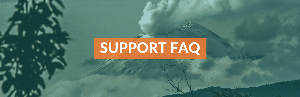 "A picture of a volcano with the words ""Support FAQ"" in front of it"