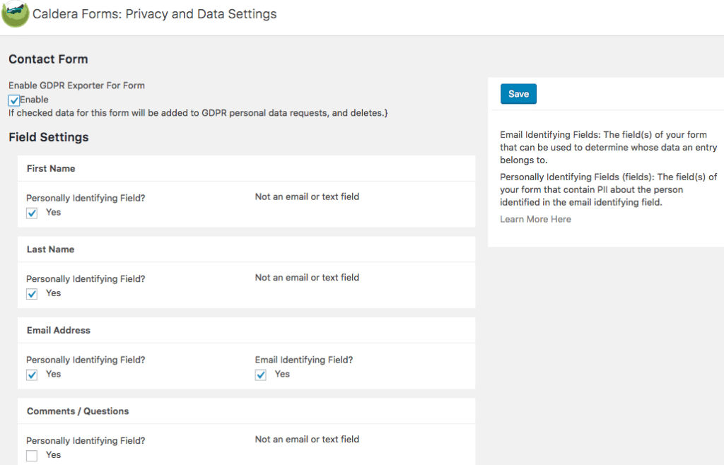 Caldera Forms privacy field settings