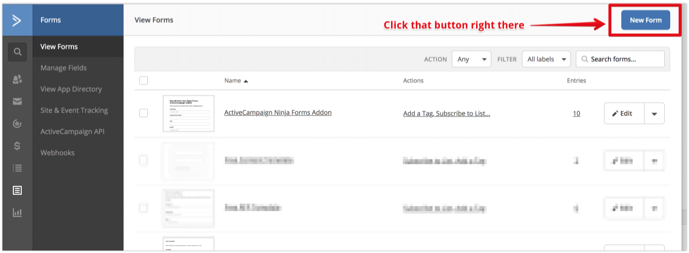Create New ActiveCampaign Form