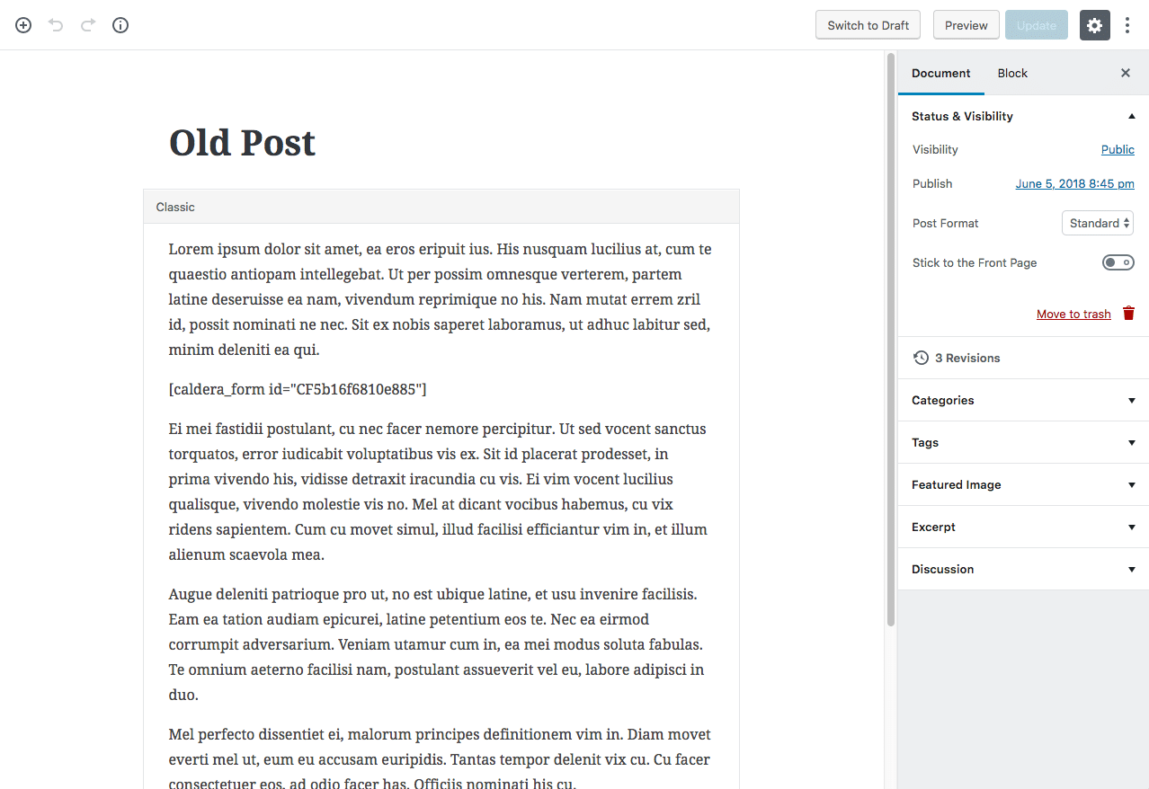 A WordPress post in the legacy Gutenberg block.