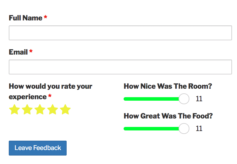 A Caldera Form for rating service with star and range slider fields.