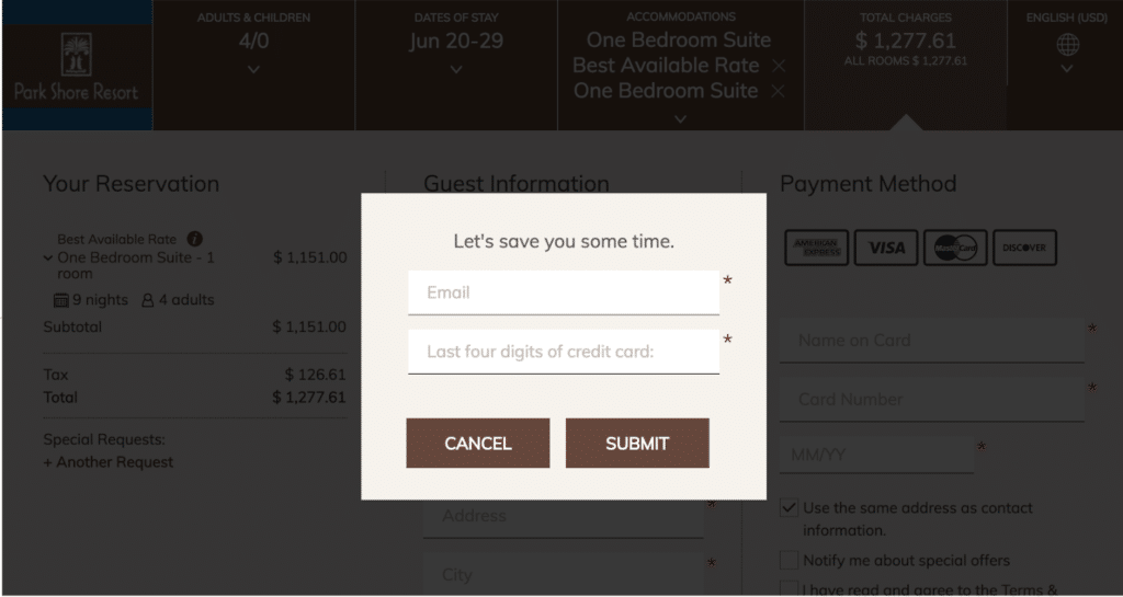 An example of a simple form asking for email and last four digits of credit card.