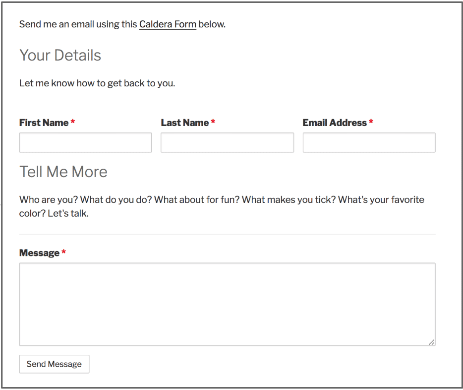 Screenshot of a simple contact form with these following fields: First Name, Last Name, Email Address, and Message.