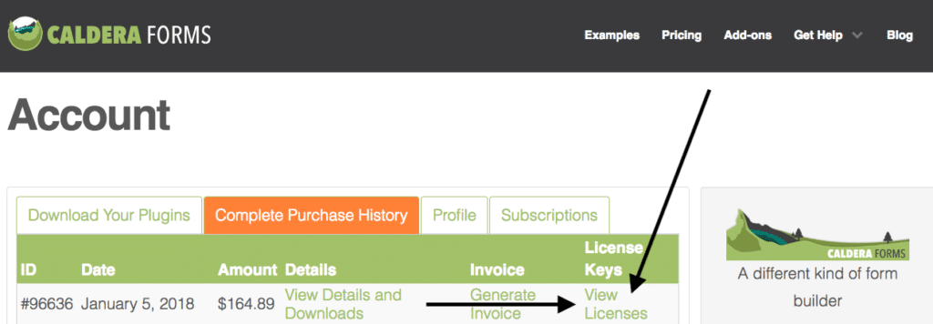 Caldera Forms Account View Licenses  For Upgrade Options