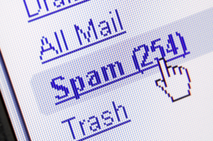 Monitor screen showing spam in the mailbox