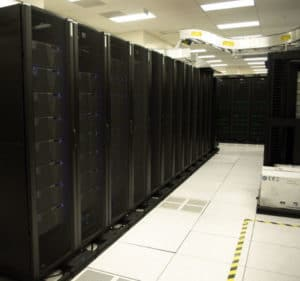 a picture of a dark server room