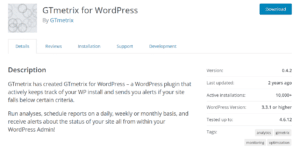 A screenshot of GTmetrix For WordPress plugin page.