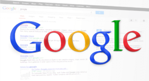 A screenshot of Google search results page with the Google logo on it.