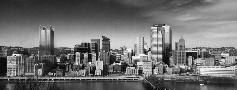 a black and white photo of the Pittsburgh skyline to represent WordCamp Pittsburgh