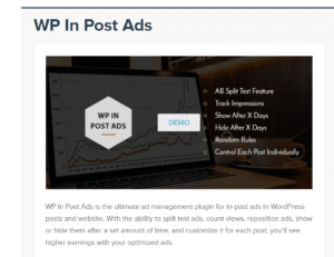 WP In Post Ads page screenshot