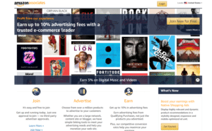 Screenshot of Amazon Associates Program.