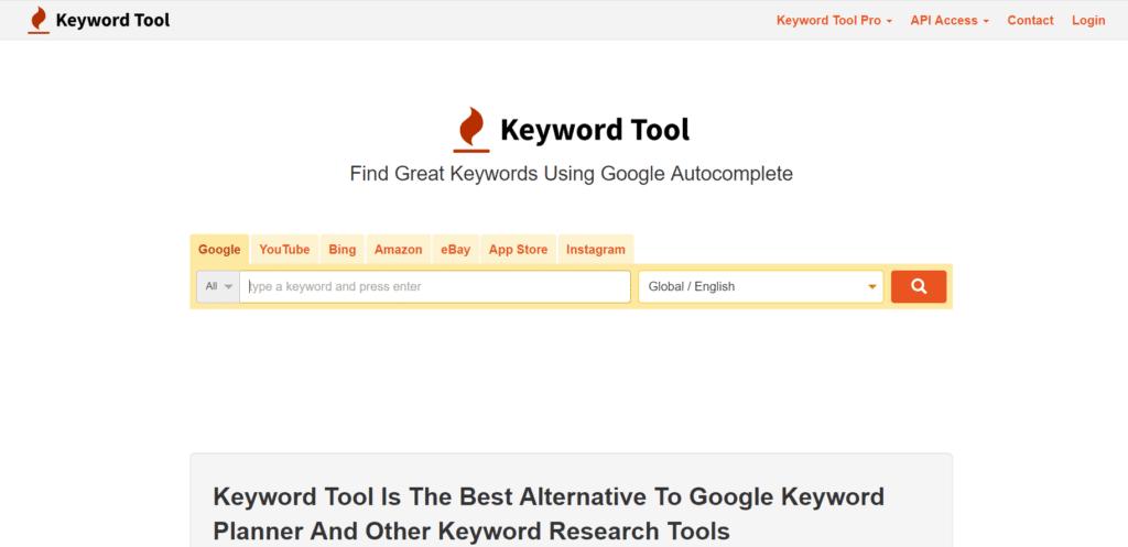 A screenshot of the page keywordtool.io