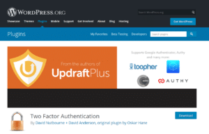 A screenshot of the Two Factor Authentication plugin page.