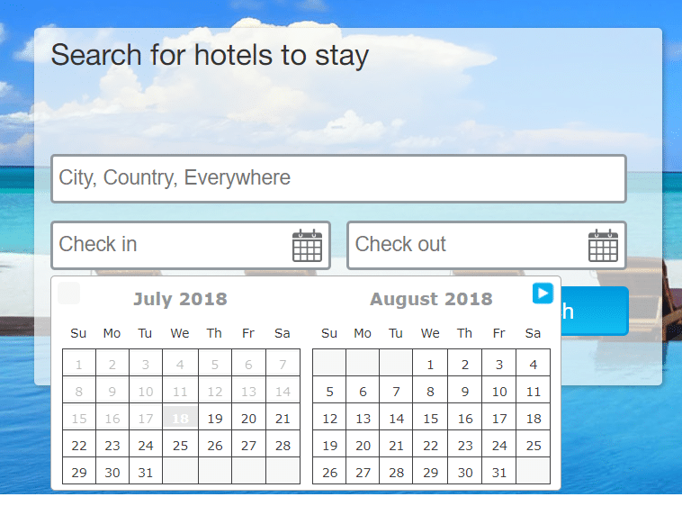 Example of a hotel booking form.