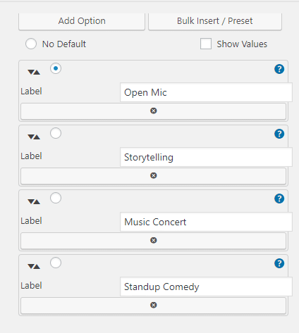 Four options in the dropdown select field.