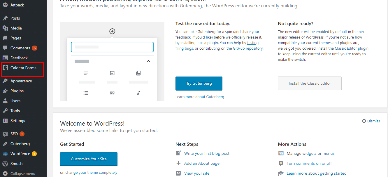 A screenshot of WordPress admin screen, showing where the 'Caldera Forms' menu is.