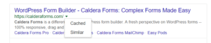 A screenshot of 'Cached' options on Google search result.