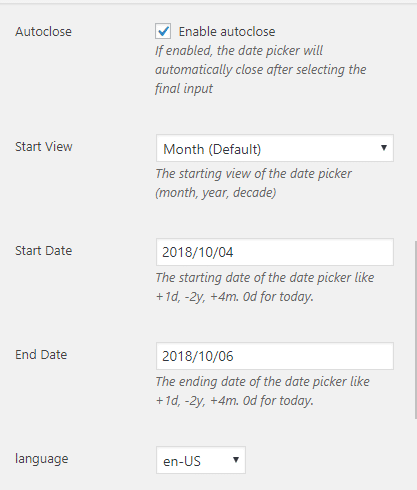 A screenshot showing the settings that are available for date picker field.