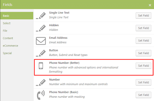 A screenshot showing the 'phone number' fields.