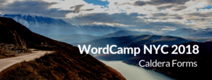 "Picture of a mountain with the text ""WordCamp NYC 2018 - Caldera Forms"""