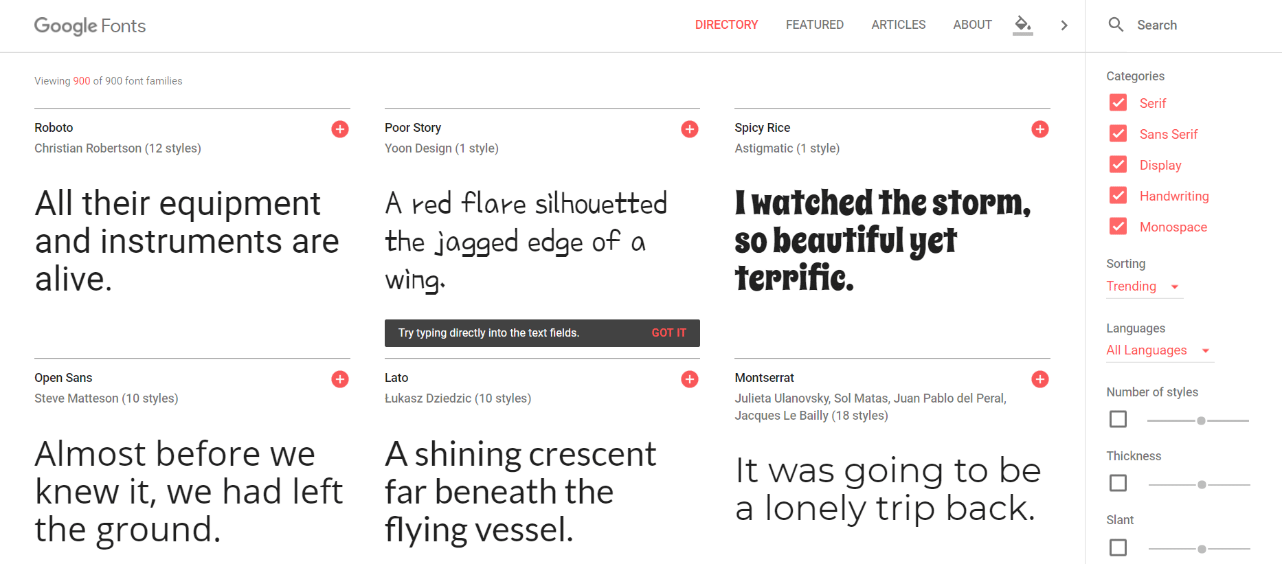Google Fonts website screenshot