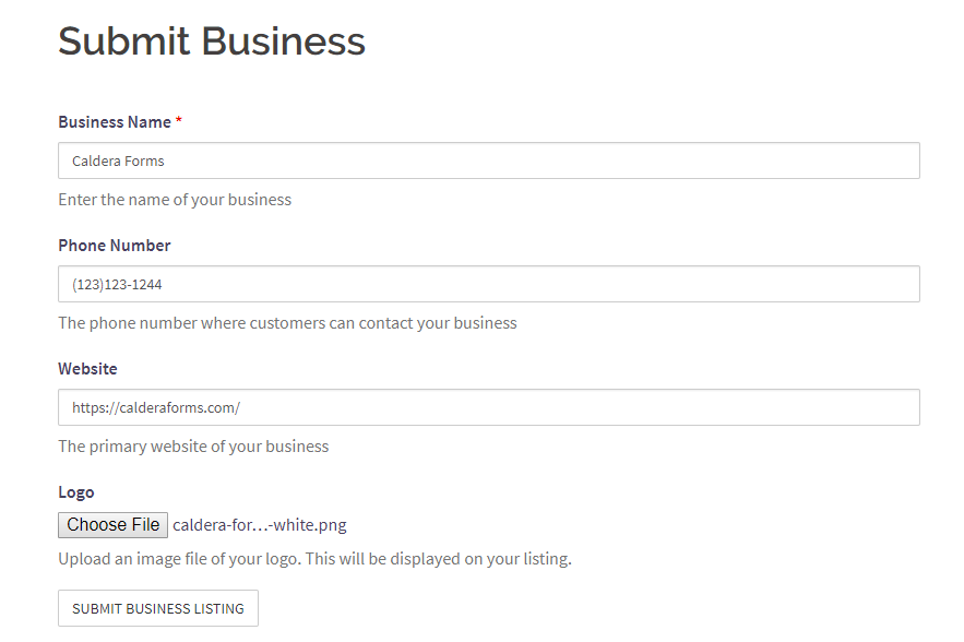 Example of a form where visitors can submit their business.