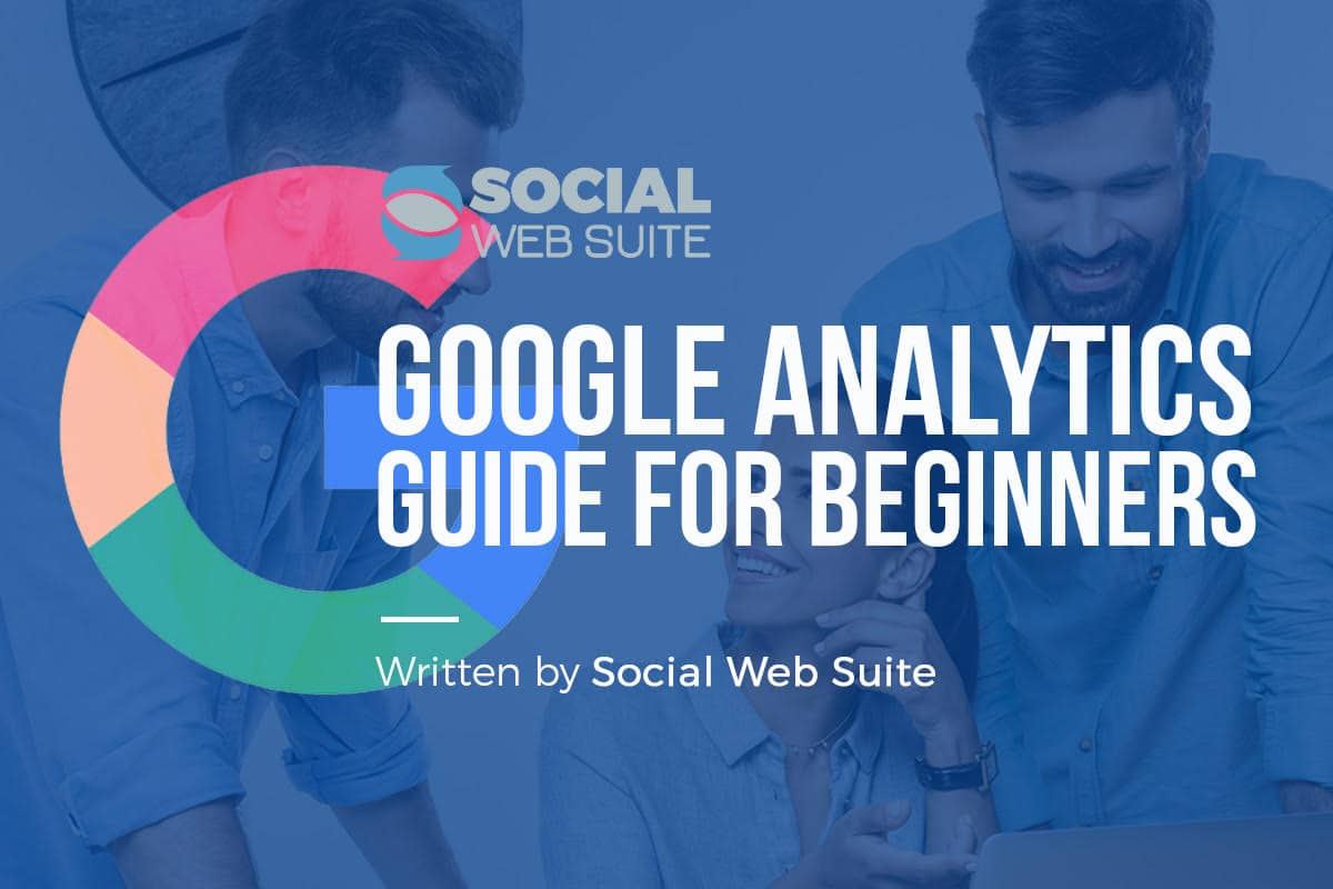 "Image of three people working together and the text ""Google Analytics Guide for Beginners"""