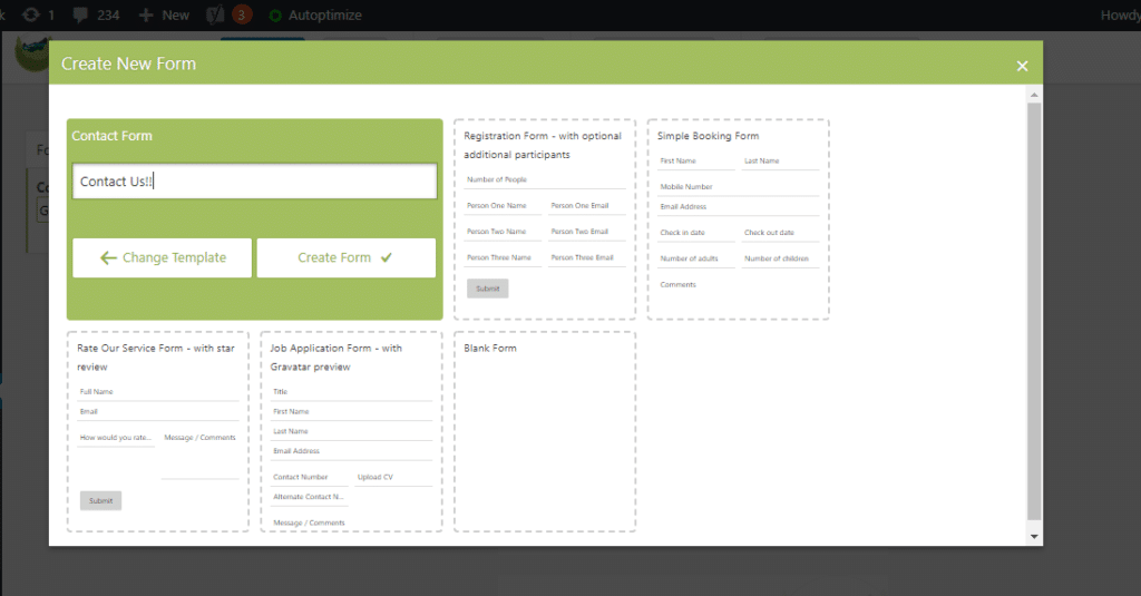 selecting the 'Contact Form' template
