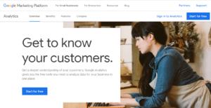 Google Analytics landing page in Google Marketing Platform