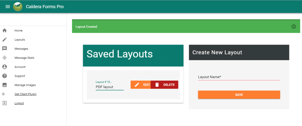 The Caldera Forms Pro user interface's layout setting screen