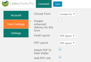 The Caldera Forms Pro settings for a contact form